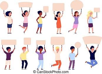 dziewczyna, chorągiew, banners., plakaty, szkoła, zupełny, litery, signs., dzieci, dzieciaki, afisz, utrzymywać, chłopiec, siła robocza, dzierżawa, opróżniać, papier, wektor, student