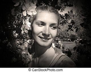 dziewczyna, czarnoskóry, portret, &, biały
