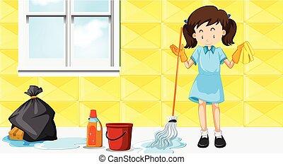 dziewczyna, czyszczenie dom