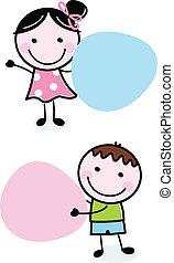 dziewczyna, doodle, dzierżawa, chorągwie, chłopiec, czysty