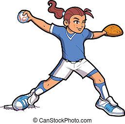 dziewczyna, dzban, softball