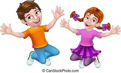 dziewczyna, dzieciaki, chłopiec, dzieci, rysunek, skokowy