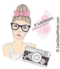 dziewczyna, fason, fotograf