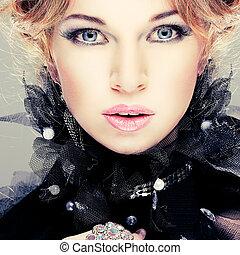 dziewczyna, fason, hairs., portrait., accessorys., czerwony