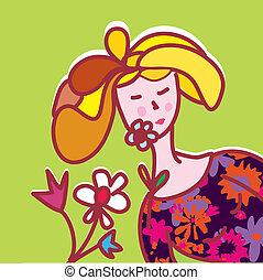 dziewczyna, fason, kwiaty, karta