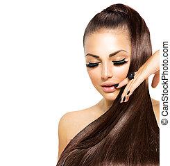 dziewczyna, fason, piękno, czarnoskóry, hair., modny, manicure, długi, kawior