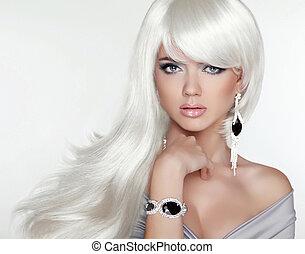 dziewczyna, fason, piękno, portrait., hair., blond, pociągający, długi, biały