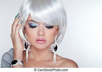 dziewczyna, fason, piękno, wzór, blond, krótki, earrings, ha, biały