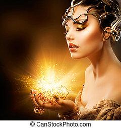 dziewczyna, fason, portrait., makijaż, złoty