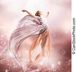 dziewczyna, flying., fairy., podmuchowy, magia, strój, piękny