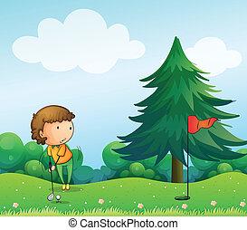 dziewczyna, golf, interpretacja, pagórek