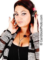 dziewczyna, headphones.