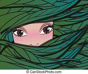 dziewczyna, illustrat, wróżka, wektor, las