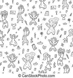 dziewczyna, illustration., doodle, wektor, moc, styl