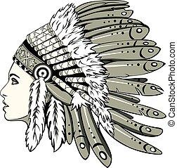 dziewczyna, indianin, fryzura