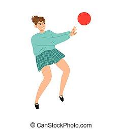 dziewczyna, interpretacja, koźlę, czerwona piłka, outdoors, wektor, ilustracja, uśmiechanie się