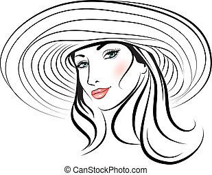 dziewczyna, kapelusz, piękno, twarz