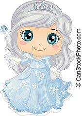 dziewczyna, koźlę, księżna, ilustracja, lód