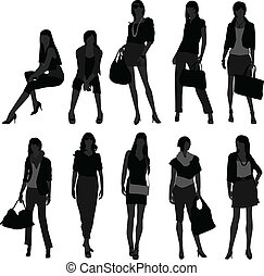 dziewczyna, kobieta shopping, wzór, samica