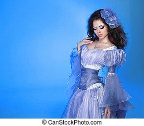dziewczyna kobiety, fason, piękno, portrait., na, chodząc, wzór, blue., szyfon, strój, piękny