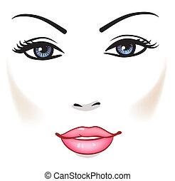 dziewczyna kobiety, piękno, twarz, portret, wektor, piękny