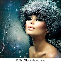 dziewczyna kobiety, portrait., zima, gwiazdkowy kapelusz, piękny, futro