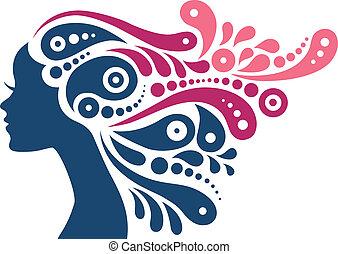 dziewczyna kobiety, włosy, abstrakcyjny, silhouette., capstrzyk, piękny