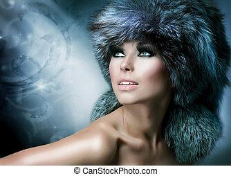 dziewczyna kobiety, zima, fashion., hat., piękny, futro