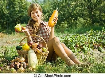 dziewczyna, kosz, warzywa