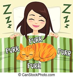 dziewczyna, kot, spanie