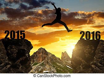 dziewczyna, kroki, rok, 2016, nowy