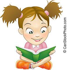 dziewczyna, książka, czytanie, ilustracja, młody