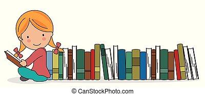 dziewczyna, książki, garść, czytanie