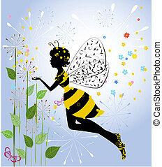 dziewczyna, kwiat, wróżka, pszczoła