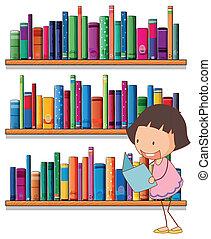 dziewczyna, młody, czytanie, bookshelves, uśmiechanie się, przód
