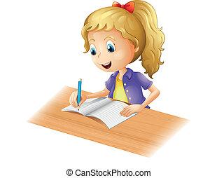 dziewczyna, młody, pisanie