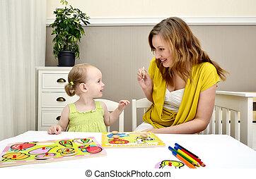 dziewczyna, mały, interpretacja, dzieci, mamusia, zagadka