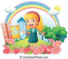 dziewczyna, mały, ogród, reputacja