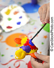 dziewczyna, malarstwo, młody, artysta