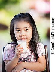 dziewczyna, mleczny, asian, napój