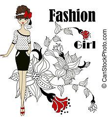 dziewczyna, modny