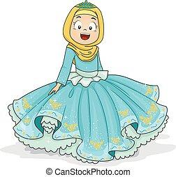 dziewczyna, muslim, księżna, ilustracja, koźlę