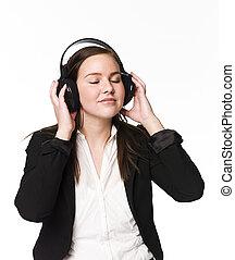 dziewczyna, muzyka, słuchać