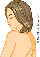 dziewczyna, nagi, włosy, piękny