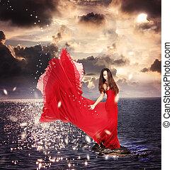 dziewczyna, ocean, reputacja, czerwone opoki, strój
