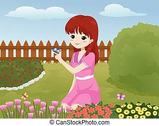 dziewczyna, ogród