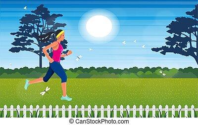 dziewczyna, ogród, wyścigi
