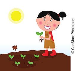 dziewczyna, ogrodnictwo, czerwone buciki