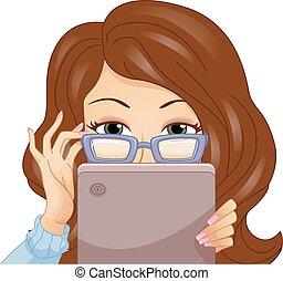dziewczyna, okulary, daszek, tabliczka, podkradać