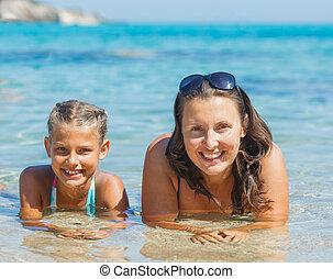 dziewczyna, pływacki, morze, macierz